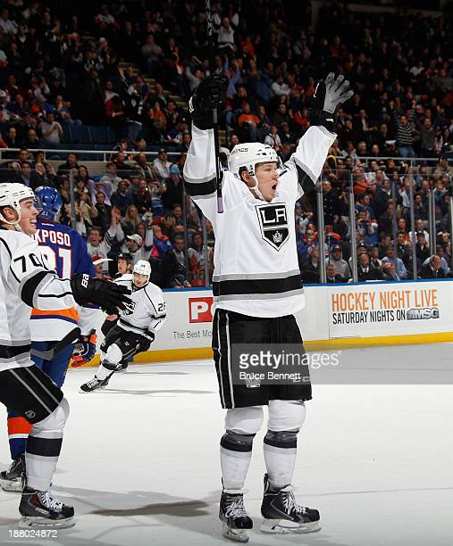 Tyler Toffoli of the Los Angeles Kings celebrates his game winning goal at 18:33 of the third period against the New York Islanders at the Nassau...