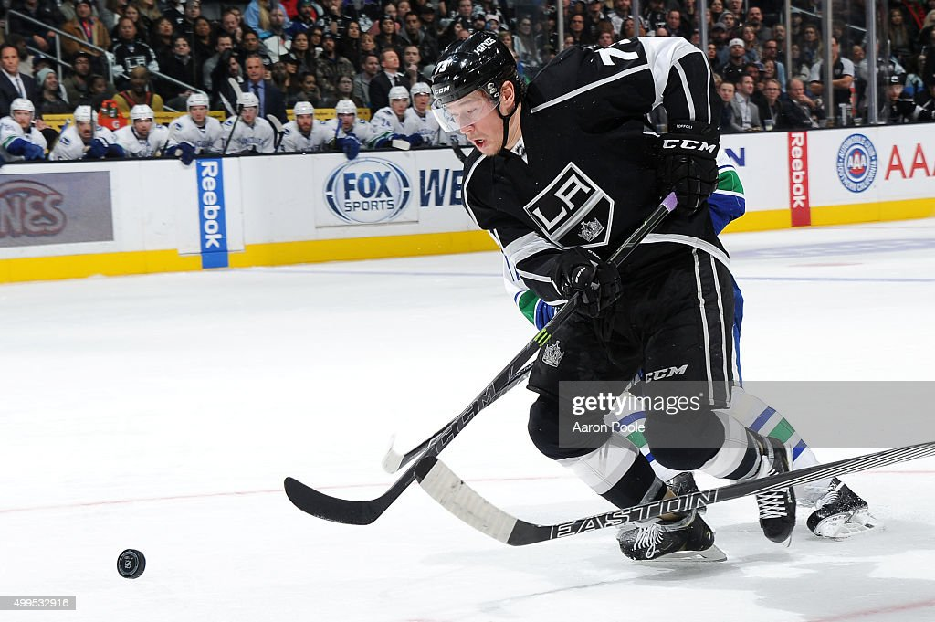 Tyler Toffoli #73 of the Los Angeles Kings handles the puck during a game against the Vancouver Canucks at STAPLES Center on December 01, 2015 in Los Angeles, California.