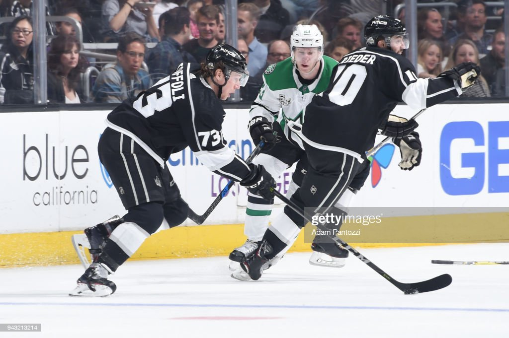 Tyler Toffoli #73 of the Los Angeles Kings handles the puck during a game against the Dallas Stars at STAPLES Center on April 7, 2018 in Los Angeles, California.