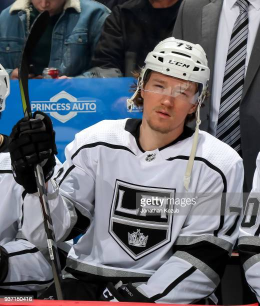 Tyler Toffoli of the Los Angeles Kings looks on from the bench prior to puck drop against the Winnipeg Jets at the Bell MTS Place on March 20 2018 in...