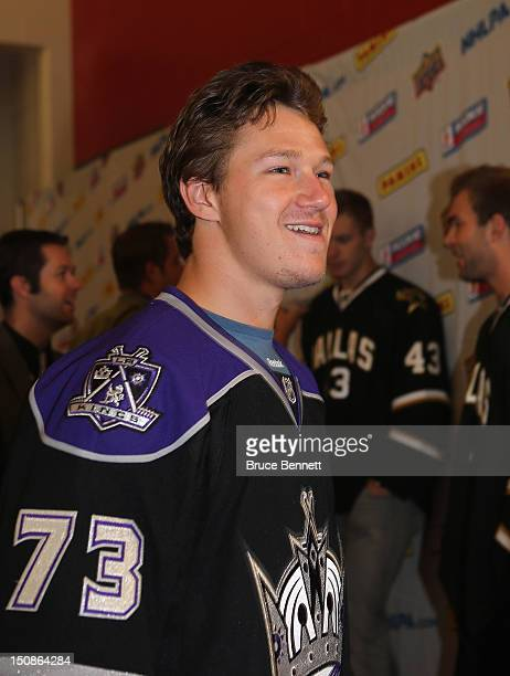 Tyler Toffoli of the Los Angeles Kings meets with the media at the 2012 NHLPA rookie showcase at the MasterCard Centre on August 28 2012 in Toronto...