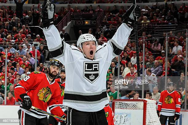 Tyler Toffoli of the Los Angeles Kings reacts after scoring against the Chicago Blackhawks in the third period as Nick Leddy of the Blackhawks stands...