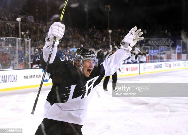 Tyler Toffoli of the Los Angeles Kings reacts after scoring an empty net goal for the hat trick tin the third period of the 2020 NHL Stadium Series...