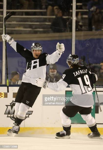 Tyler Toffoli of the Los Angeles Kings reacts after scoring an empty net goal for the hat trick during the third period of the 2020 NHL Stadium...