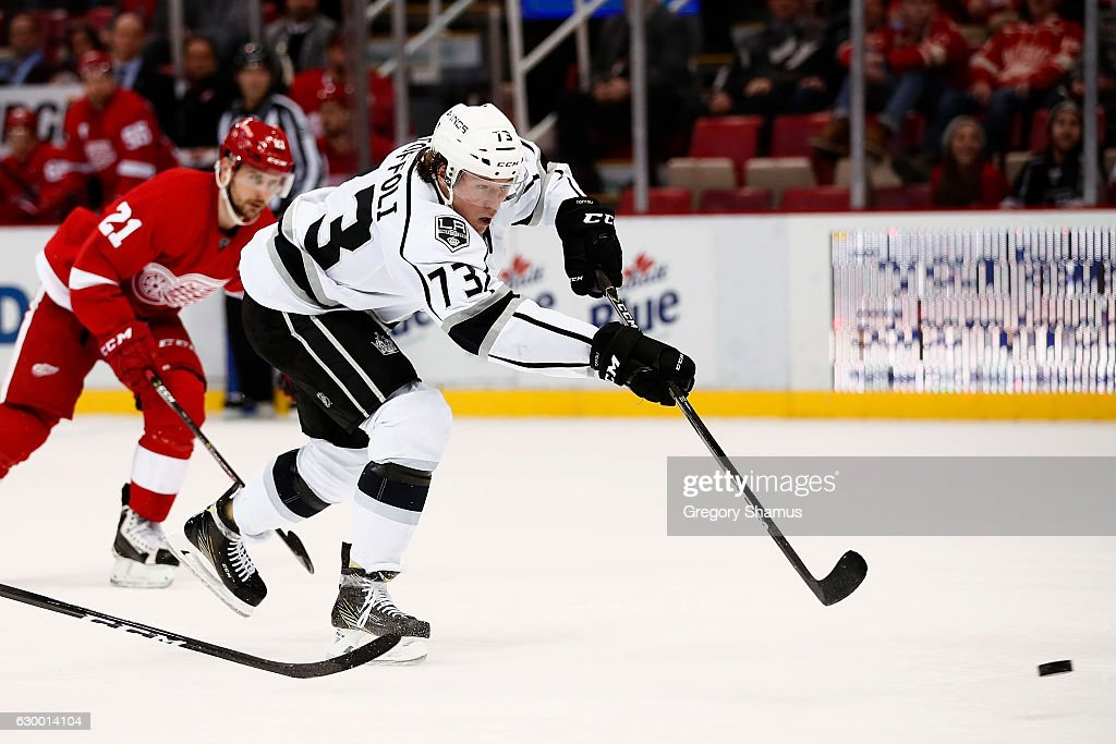 Tyler Toffoli #73 of the Los Angeles Kings scores a open net third period goal in front of Tomas Tatar #21 of the Detroit Red Wings at Joe Louis Arena on December 15, 2016 in Detroit, Michigan. Los Angeles won the game 4-1.