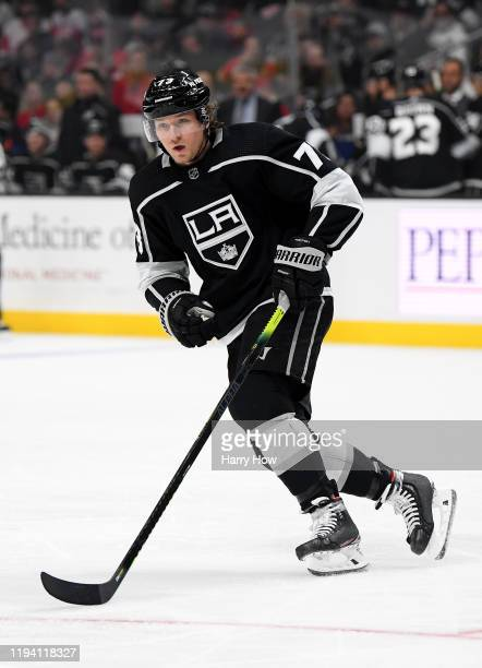 Tyler Toffoli of the Los Angeles Kings skates during a 32 overtime win over the Detroit Red Wings at Staples Center on November 14 2019 in Los...