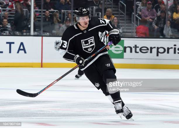 Tyler Toffoli of the Los Angeles Kings skates during the first period of the game against the Detroit Red Wings at STAPLES Center on October 7 2018...