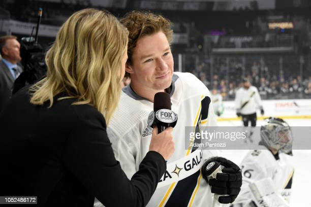 Tyler Toffoli of the Los Angeles Kings smiles while speaking with a Fox Sports West reporter during warmup before the game against the New York...