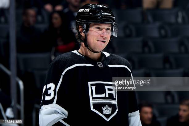Tyler Toffoli of the Los Angeles Kings smiles while waiting for play to resume during the third period of the preseason game against the Vegas Golden...