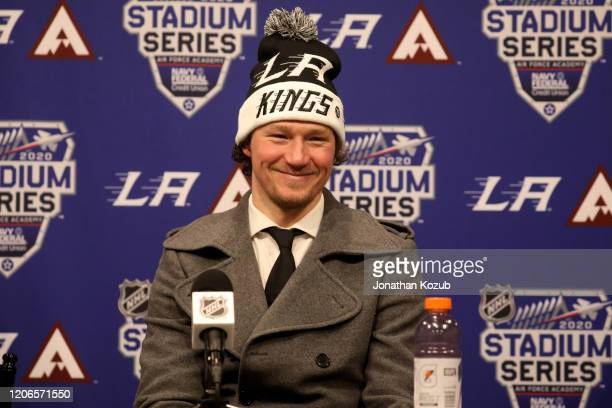 Tyler Toffoli of the Los Angeles Kings speaks to the media after the 2020 NHL Stadium Series game between the Los Angeles Kings and the Colorado...