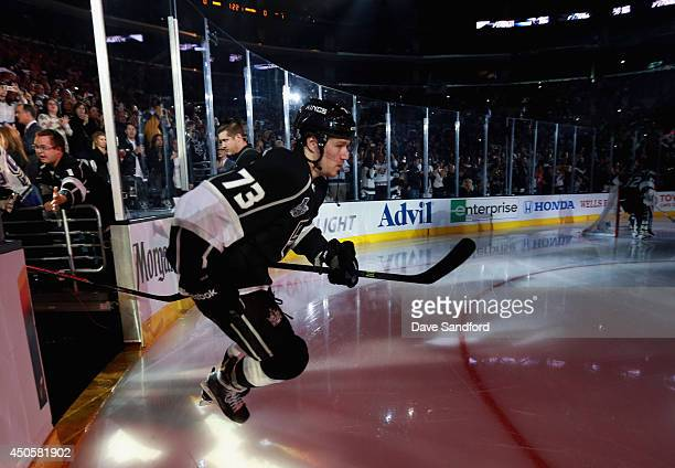 Tyler Toffoli of the Los Angeles Kings takes the ice to warm up before playing the New York Rangers in Game Five of the 2014 Stanley Cup Final at the...