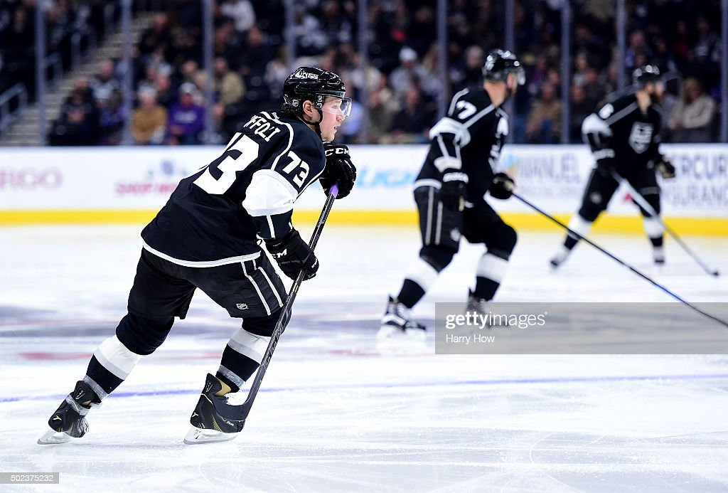 Tyler Toffoli #73 of the Los Angeles Kings turn to the play during the second period against the Vancouver Canucks at Staples Center on December 1, 2015 in Los Angeles, California.