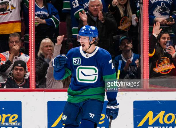 Tyler Toffoli of the Vancouver Canucks celebrates after scoring a goal against the Boston Bruins during NHL action at Rogers Arena on February 22,...