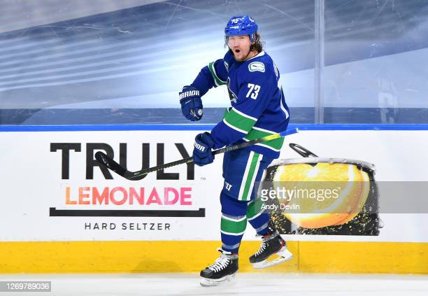 Tyler Toffoli of the Vancouver Canucks reacts after scoring in the second period of Game Four of the Western Conference Second Round of the 2020 NHL...