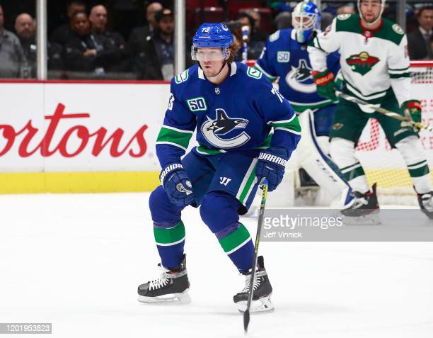 Tyler Toffoli of the Vancouver Canucks skates up the ice during their NHL game against the Minnesota Wild at Rogers Arena February 19 2020 in...