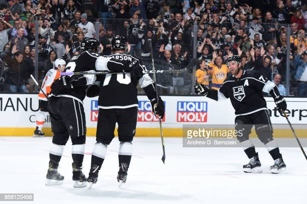 Tyler Toffoli Tanner Pearson and Jeff Carter of the Los Angeles Kings celebrates during a game against the Philadelphia Flyers at STAPLES Center on...