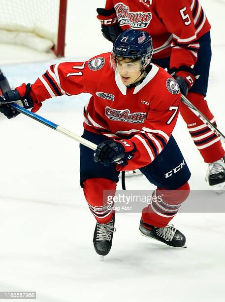 Tyler Tullio of the Oshawa Generals skates against the Mississauga Steelheads during game action on October 25 2019 at Paramount Fine Foods Centre in...