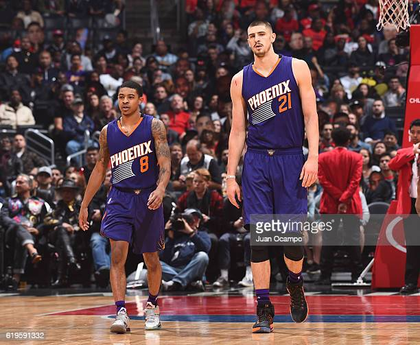 Tyler Ulis and Alex Len of the Phoenix Suns look on during a game against the LA Clippers on October 31 2016 at the STAPLES Center in Los Angeles...