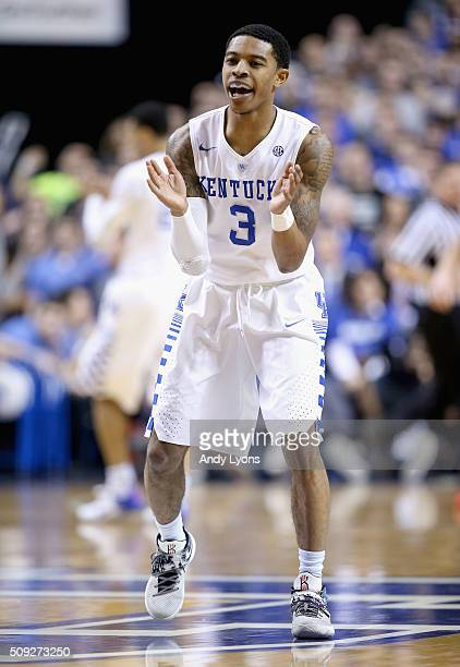 Tyler Ulis of the Kentucky Wildcats celebrates in the game against the Georgia Bulldogs at Rupp Arena on February 9 2016 in Lexington Kentucky
