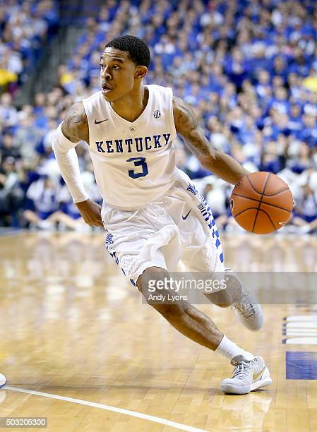 Tyler Ulis of the Kentucky Wildcats dribbles the ball against the Mississippi Rebels at Rupp Arena on January 2 2016 in Lexington Kentucky
