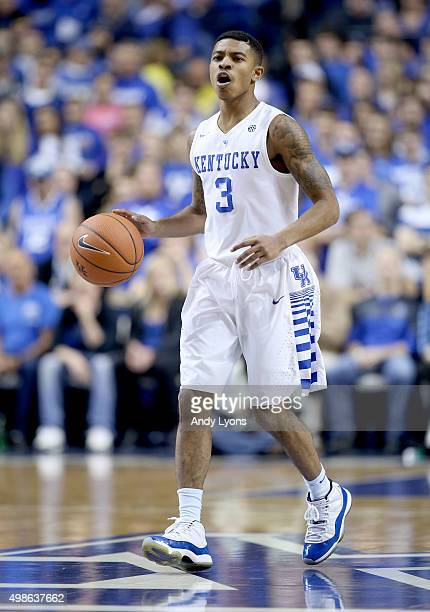 Tyler Ulis of the Kentucky Wildcats dribbles the ball during the game against the Boston Terriers at Rupp Arena on November 24 2015 in Lexington...