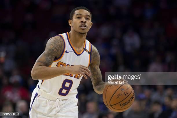 Tyler Ulis of the Phoenix Suns dribbles the ball against the Philadelphia 76ers at the Wells Fargo Center on December 4 2017 in Philadelphia...