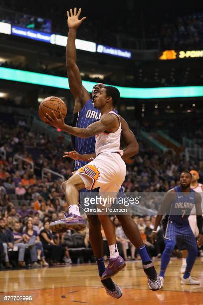 Tyler Ulis of the Phoenix Suns drives to the basket against the Orlando Magic during the second half of the NBA game at Talking Stick Resort Arena on...