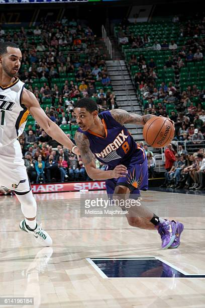 Tyler Ulis of the Phoenix Suns drives to the basket against the Utah Jazz during a preseason game on October 12 2016 at Vivint Smart Home Arena in...