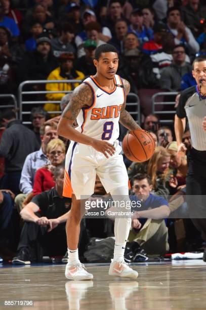 Tyler Ulis of the Phoenix Suns handles the ball against the Philadelphia 76ers on December 4 2017 at Wells Fargo Center in Philadelphia Pennsylvania...