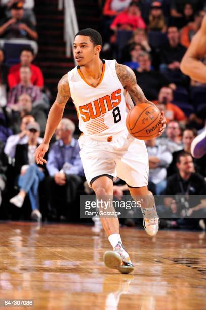 Tyler Ulis of the Phoenix Suns handles the ball against the Charlotte Hornets during the game on March 2 2017 at Talking Stick Resort Arena in...