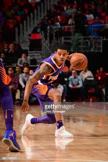 Tyler Ulis of the Phoenix Suns handles the ball against the Detroit Pistons on November 29 2017 at Little Caesars Arena in Detroit Michigan NOTE TO...