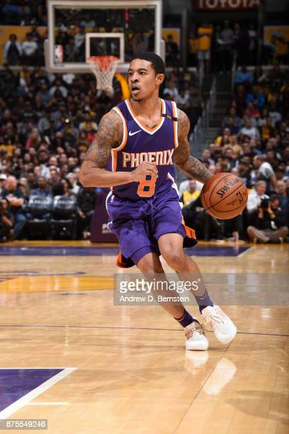 Tyler Ulis of the Phoenix Suns handles the ball against the Los Angeles Lakers on November 17 2017 at STAPLES Center in Los Angeles California NOTE...
