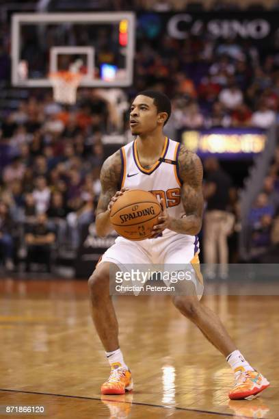Tyler Ulis of the Phoenix Suns handles the ball during the first half of the NBA game against the Brooklyn Nets at Talking Stick Resort Arena on...