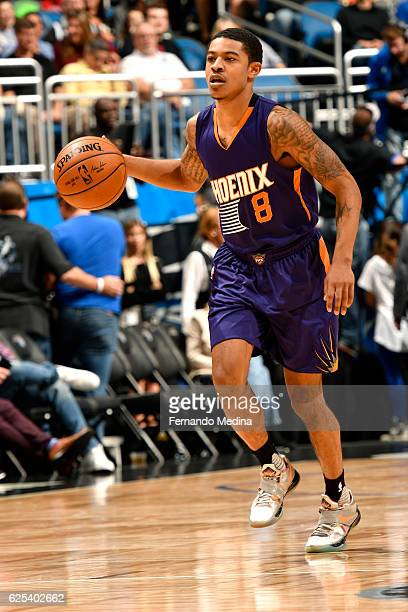Tyler Ulis of the Phoenix Suns handles the ball during the game against the Orlando Magic on November 23 2016 at Amway Center in Orlando Florida Or...