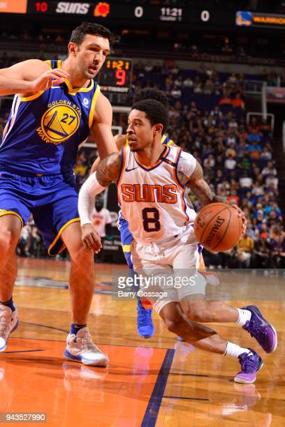 Tyler Ulis of the Phoenix Suns handles the ball during the game against Zaza Pachulia of the Golden State Warriors on April 8 2018 at Talking Stick...