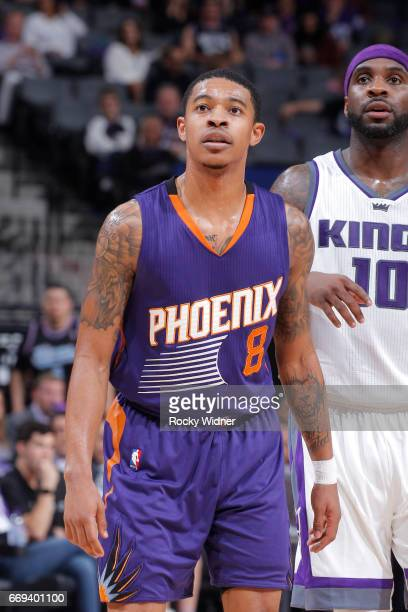 Tyler Ulis of the Phoenix Suns looks on during the game against the Sacramento Kings on April 11 2017 at Golden 1 Center in Sacramento California...