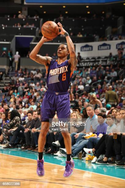 Tyler Ulis of the Phoenix Suns shoots the ball against the Charlotte Hornets on March 26 2017 at Spectrum Center in Charlotte North Carolina NOTE TO...