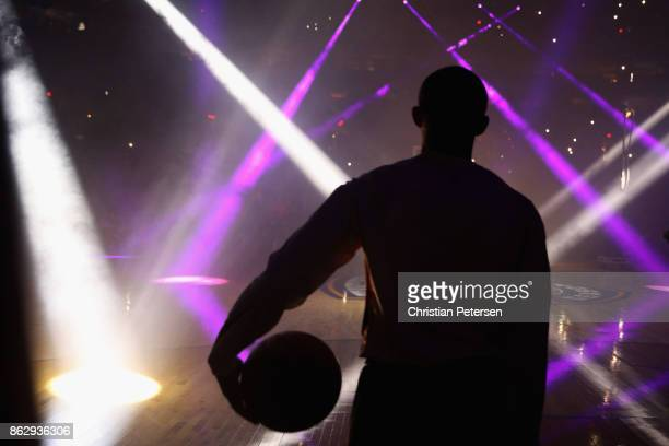Tyler Ulis of the Phoenix Suns watches introductions to the NBA game against the Portland Trail Blazers at Talking Stick Resort Arena on October 18...
