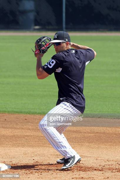 Tyler Wade makes the throw over to first base to complete the double play during the New York Yankees spring training workout on March 01 at George M...