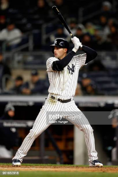 Tyler Wade of the New York Yankees bats against the Toronto Blue Jays during the fifth inning at Yankee Stadium on April 19 2018 in the Bronx borough...