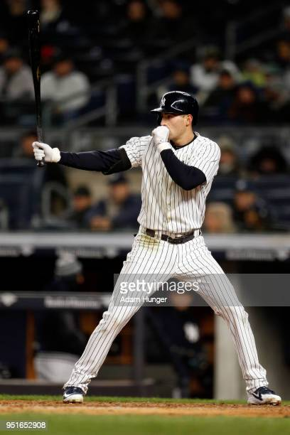 Tyler Wade of the New York Yankees gestures at bat against the Toronto Blue Jays during the fifth inning at Yankee Stadium on April 19 2018 in the...