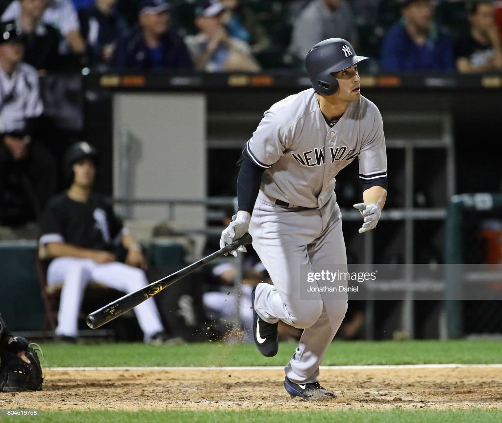 Tyler Wade #39 of the New York Yankees gets his first Major League hit, a run scoring double in the 6th inning, against the Chicago White Sox at Guaranteed Rate Field on June 28, 2017 in Chicago, Illinois.