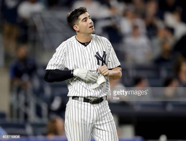 Tyler Wade of the New York Yankees reacts after he strikes out to end the 10th inning against the Tampa Bay Rays on July 27 2017 at Yankee Stadium in...