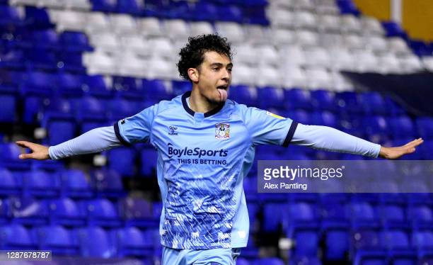 Tyler Walker of Coventry City celebrates after scoring their sides first goal during the Sky Bet Championship match between Coventry City and Cardiff...