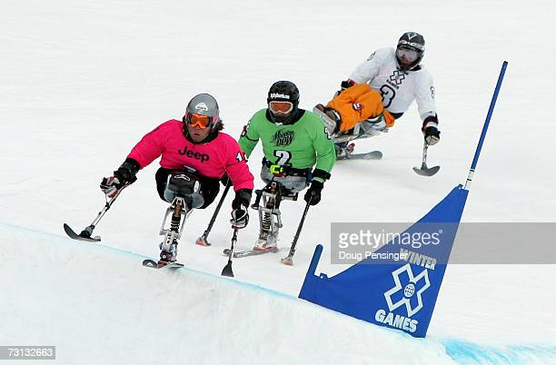 Tyler Walker of Franconia New Hampshire leads Kevin Connolly of Bozeman Montana and KeesJan van der Klooster from Vlissingen of the Netherlands as...
