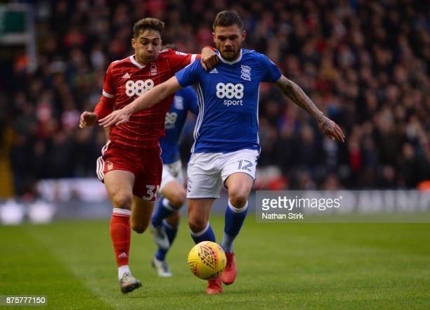 Tyler Walker of Nottingham Forest and Harlee Dean of Birmingham City in action during the Sky Bet Championship match between Birmingham City and...