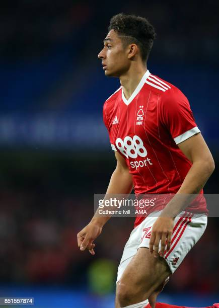 Tyler Walker of Nottingham Forest during the Carabao Cup Third Round match between Chelsea and Nottingham Forest at Stamford Bridge on September 20...