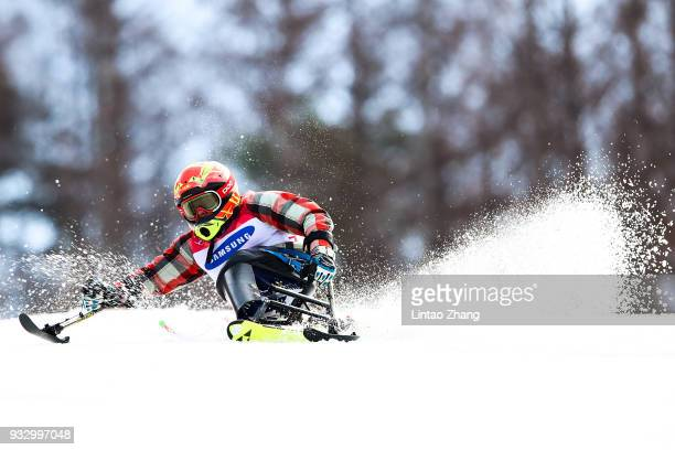 Tyler Walker of the United States competes in the Men's Slalom Run 2 Sitting at Alpine Centre during day eight of the PyeongChang 2018 Paralympic...