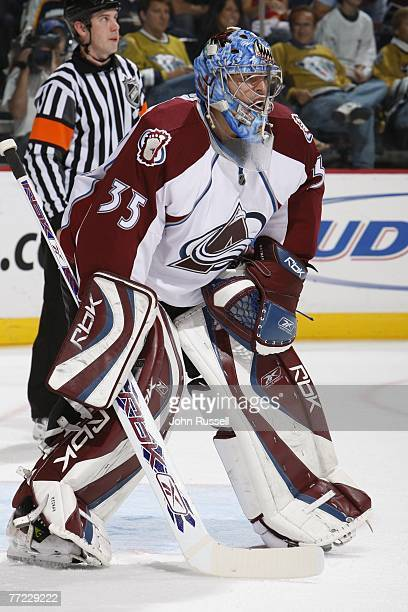 Tyler Weiman of the Colorado Avalanche minds the net against the Nashville Predators on October 4 2007 at The Sommett Center in Nashville Tennessee