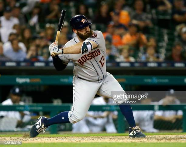 Tyler White of the Houston Astros bats against the Detroit Tigers at Comerica Park on September 11 2018 in Detroit Michigan